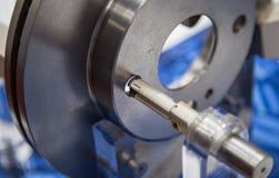 Lathe cutting tool. Carbide mills tipped lathe cutting tool making boring royalty free stock photography