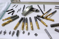 Lathe drill bit set Stock Photo