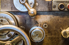 Lathe in factory. Retro old lathe in factory Royalty Free Stock Image