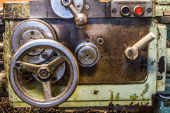 Lathe in factory. Retro old lathe in factory Stock Photo