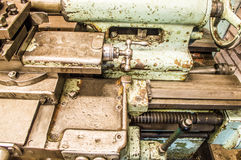 Lathe in factory. Retro old lathe in factory Royalty Free Stock Photo