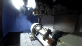Lathe inside close-up. Industrial production, heavy machinery. Gopro action camera stock video