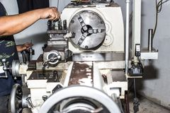 Lathe machine for industry. stock photography
