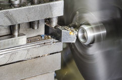 Lathe machine metal workshop close up Royalty Free Stock Images