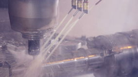 Lathe machine, turning machine works. Industrial lathe works metal with precision. HD stock footage