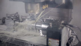 Lathe machine, turning machine works. Industrial lathe works metal with precision. HD stock video footage