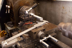 Lathe machine vernier Royalty Free Stock Photos