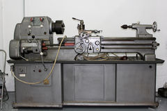 Lathe machine in a workshop stock image