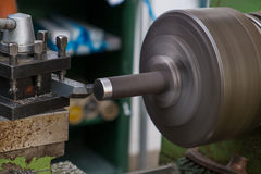 Lathe machine. In a workshop, Part of the lathe Royalty Free Stock Photos