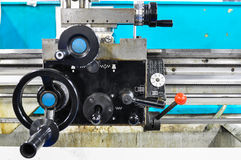Lathe machine in a workshop, Part of the lathe. Stock Photos