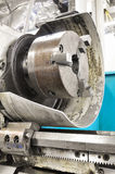 Lathe machine in a workshop, Part of the lathe. Royalty Free Stock Photos