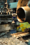 Lathe machine in a workshop, Part of the lathe. Lathe machine is operation on the work shop Royalty Free Stock Image