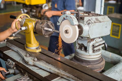 Lathe machine in a workshop, Part of the lathe. Lathe machine is operation on the work shop Royalty Free Stock Photos