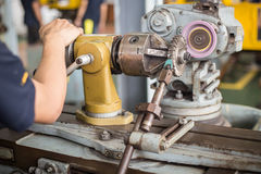 Lathe machine in a workshop, Part of the lathe. Lathe machine is operation on the work shop Stock Images