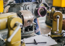 Lathe machine in a workshop, Part of the lathe. Lathe machine is operation on the work shop Stock Image