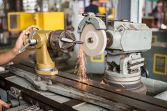 Lathe machine in a workshop, Part of the lathe. Lathe machine is operation on the work shop Stock Photo