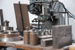Lathe. In a machining process Royalty Free Stock Photos