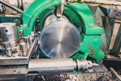 Lathe, manufacturing parts by machining metal on a milling machine.  stock photo