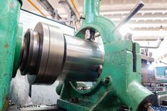 Lathe, manufacturing parts by machining metal on a milling machine.  stock photos