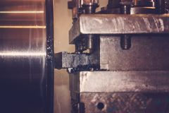 Lathe, manufacturing parts by machining metal on a milling machine.  royalty free stock photography