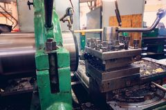 Lathe, manufacturing parts by machining metal on a milling machine.  royalty free stock photo