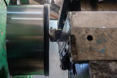 Lathe, manufacturing parts by machining metal on a milling machine.  royalty free stock photos
