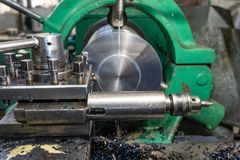 Lathe, manufacturing parts by machining metal on a milling machine.  stock photography