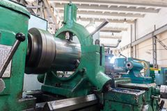 Lathe, manufacturing parts by machining metal on a milling machine.  stock image