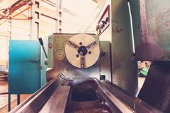 Lathe, manufacturing parts by machining metal on a milling machine.  royalty free stock image
