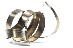 Lathe spiral metal shavings Royalty Free Stock Photography