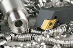Lathe Tool And Turnings Royalty Free Stock Photo