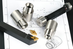 Lathe tool and cutting inserts for turning Royalty Free Stock Photos