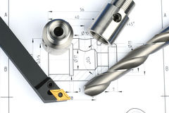 Lathe Tool, Drill And Workpiece Stock Photo
