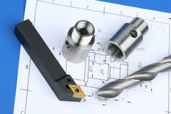 Lathe tool,drill and workpiece Stock Image
