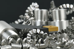 Lathe tool and turnings. Close up stock image