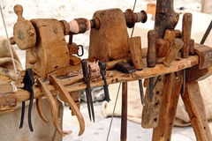 Lathe and tools for woodworking Royalty Free Stock Images