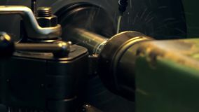 Lathe, turning machine. In action stock video footage