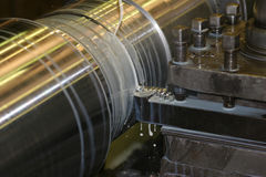 Lathe Turning Stainless Steel. Drill Royalty Free Stock Image