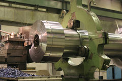 Lathe Turning Stainless Steel. Drill Royalty Free Stock Photo