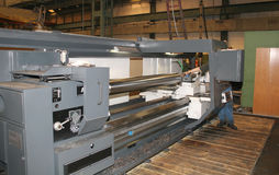 Lathe Turning Stainless Steel. Drill stock photos