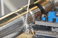 Lathe Turning Stainless Steel Stock Image