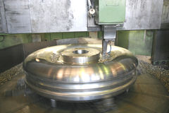 Lathe Turning Stainless Steel Stock Photography