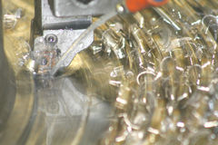 Lathe Turning Stainless Steel. Drill Stock Image