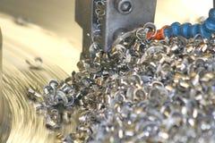 Lathe Turning Stainless Steel Royalty Free Stock Image