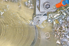 Lathe Turning Stainless Steel Royalty Free Stock Image