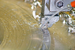 Lathe Turning Stainless Steel. Drill Royalty Free Stock Photography