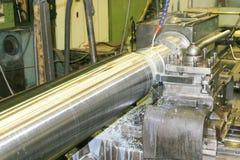 Lathe Turning Stainless Steel Royalty Free Stock Photos