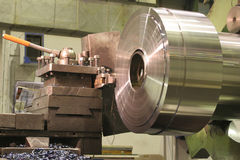 Lathe Turning Stainless Steel Stock Photo