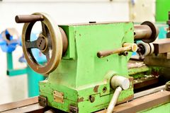 Lathe. In the work shop royalty free stock photo