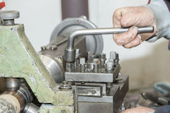 Lathe worker (Handicap workers) Royalty Free Stock Photo
